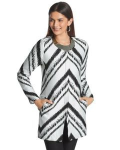 Chicos Abrstract Chevron Topper Jacket 3 Large